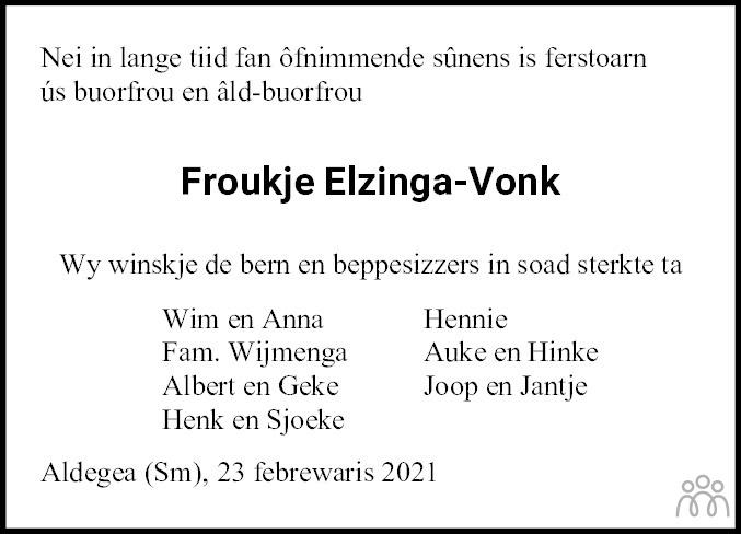 Overlijdensbericht van Froukje Elzinga-Vonk in Friesch Dagblad