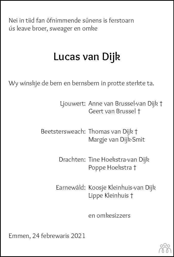 Overlijdensbericht van Lucas van Dijk in Leeuwarder Courant