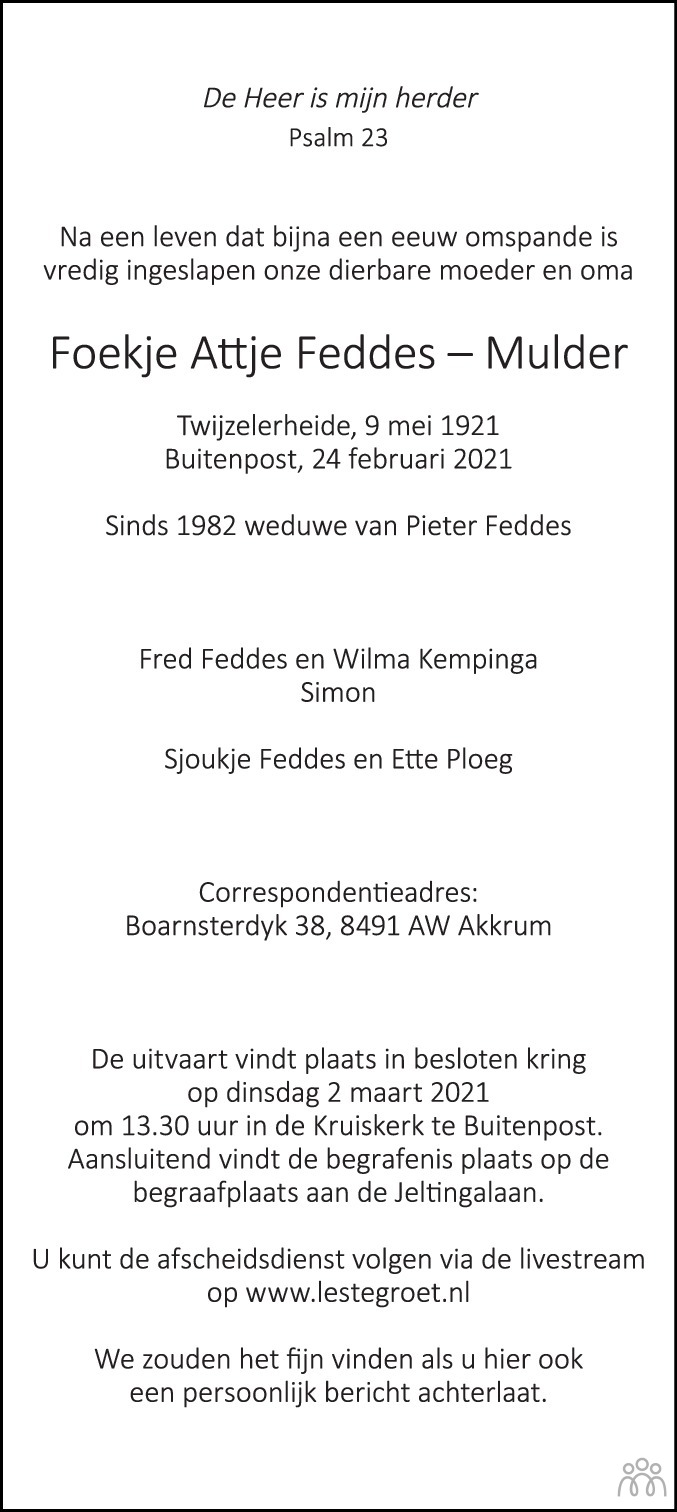 Overlijdensbericht van Foekje Attje Feddes-Mulder in Leeuwarder Courant
