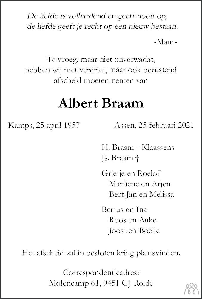 Overlijdensbericht van Albert Braam in Dagblad van het Noorden