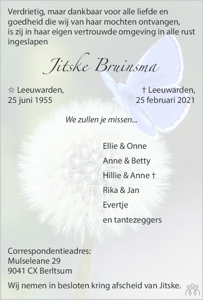 Overlijdensbericht van Jitske Bruinsma in Leeuwarder Courant