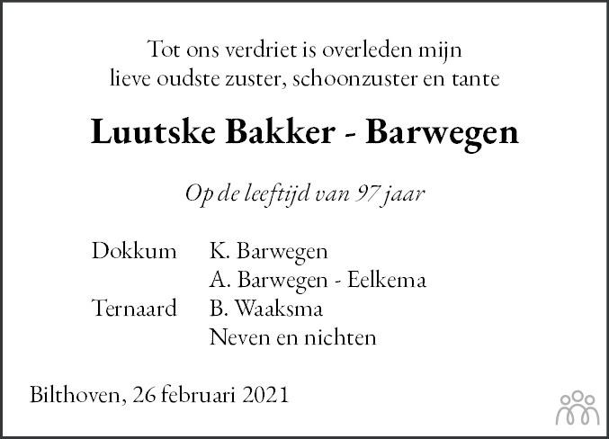 Overlijdensbericht van Luutske Bakker-Barwegen in Friesch Dagblad