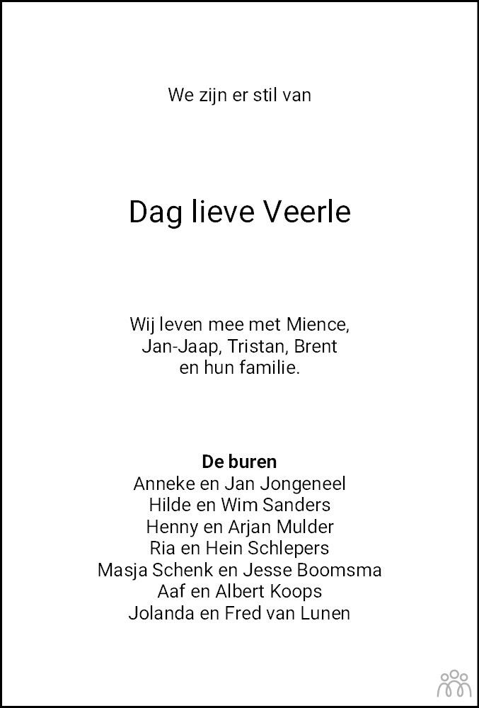 Overlijdensbericht van Veerle de Boer in Dagblad van het Noorden
