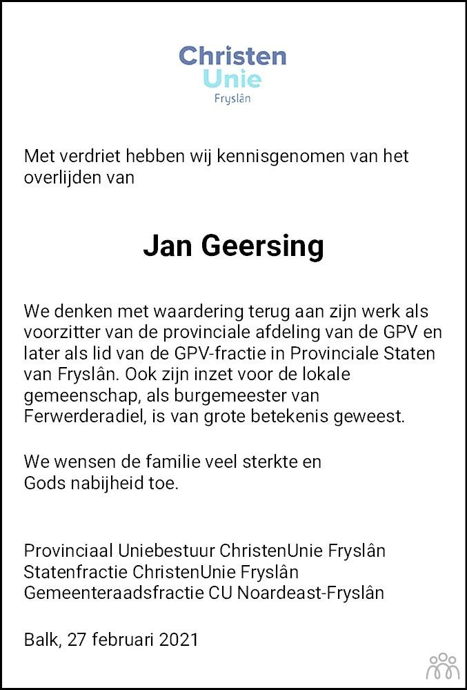 Overlijdensbericht van Jan Geersing in Friesch Dagblad