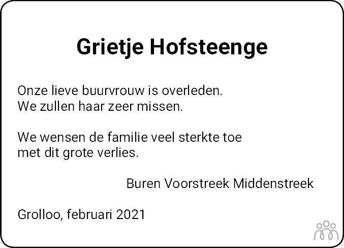 Overlijdensbericht van Grietje Hofsteenge-Jelies in Dagblad van het Noorden