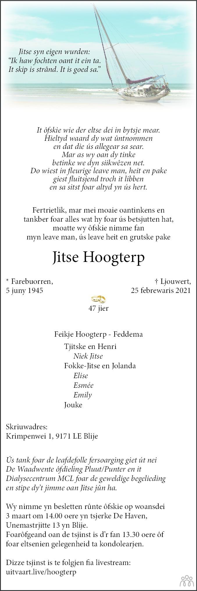 Overlijdensbericht van Jitse Hoogterp in Leeuwarder Courant