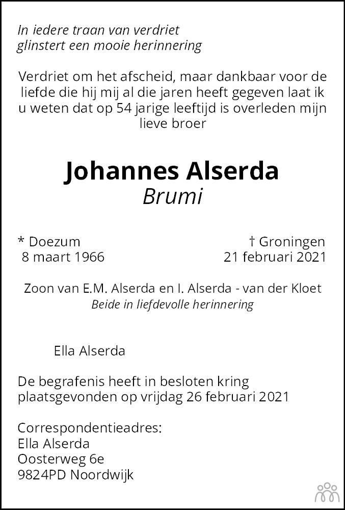Overlijdensbericht van Johannes (Brumi) Alserda in Dagblad van het Noorden