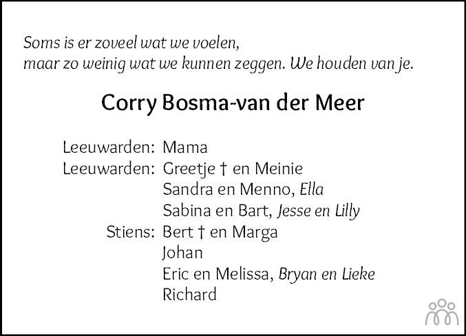 Overlijdensbericht van Cornelia (Corry) Bosma-van der Meer in Leeuwarder Courant