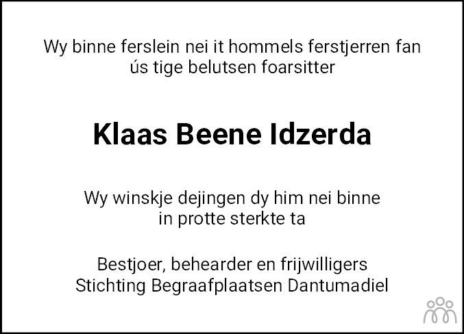 Overlijdensbericht van Klaas Beene Idzerda in Leeuwarder Courant