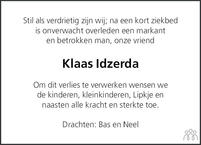 Overlijdensbericht van Klaas Beene Idzerda in Friesch Dagblad