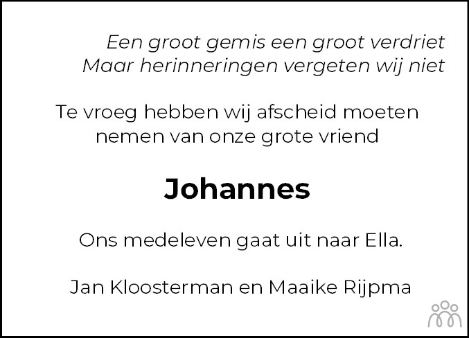 Overlijdensbericht van Johannes (Brumi) Alserda in Westerkwartier