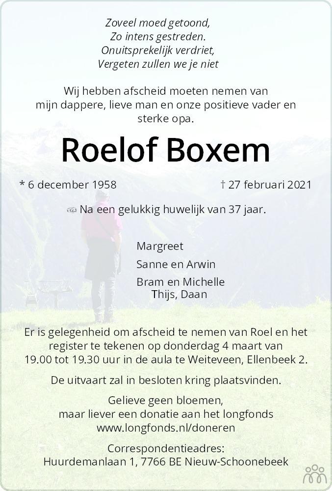 Overlijdensbericht van Roelof Boxem in Dagblad van het Noorden