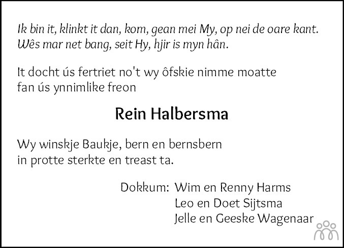 Overlijdensbericht van Rein Halbersma in Leeuwarder Courant