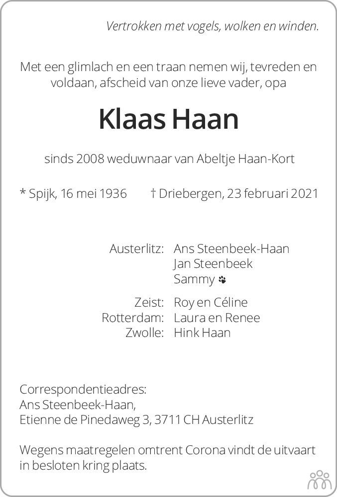 Overlijdensbericht van Klaas Haan in Dagblad van het Noorden
