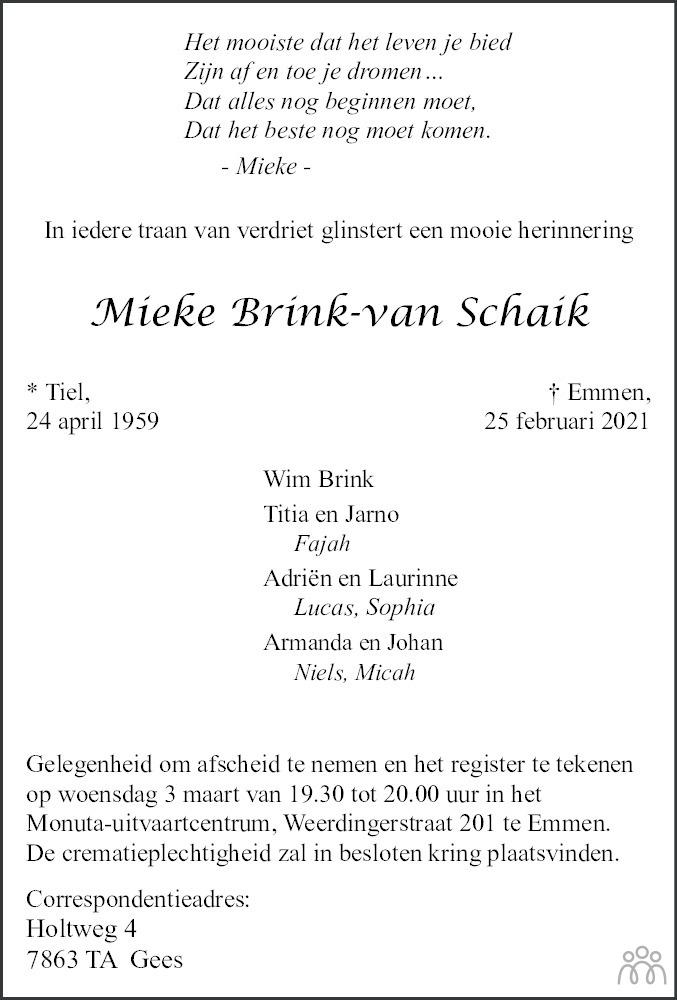Overlijdensbericht van Mieke Brink-van Schaik in Dagblad van het Noorden