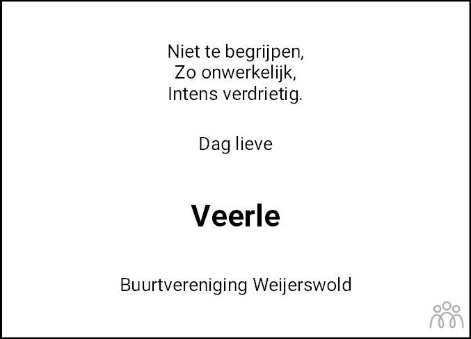 Overlijdensbericht van Veerle de Boer in Coevorden Huis aan Huis