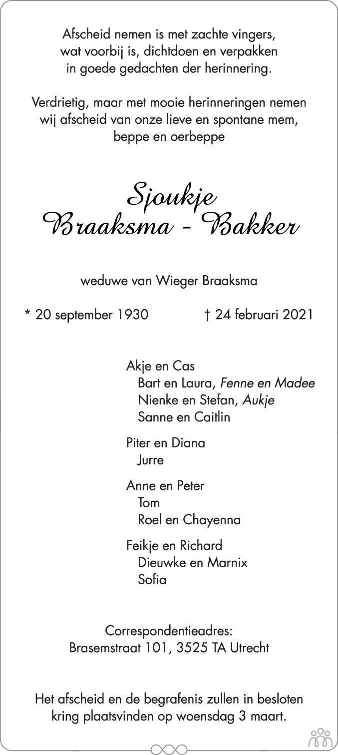 Overlijdensbericht van Sjoukje Braaksma-Bakker in Friesch Dagblad