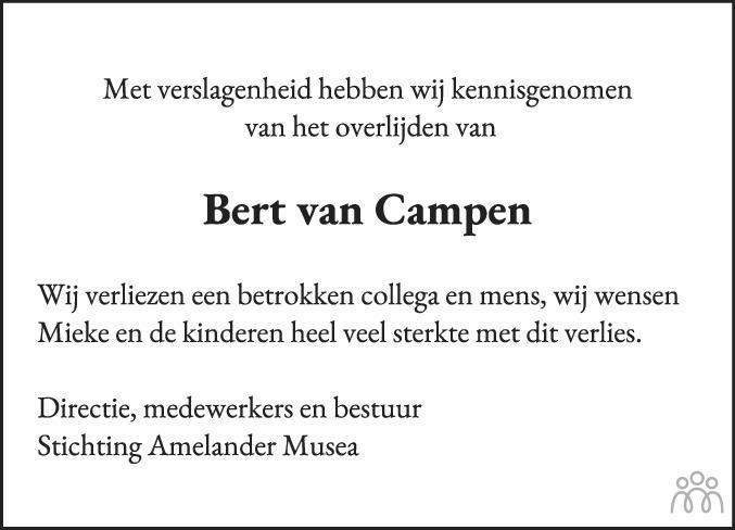 Overlijdensbericht van Bertrand (Bert) van Campen in Leeuwarder Courant