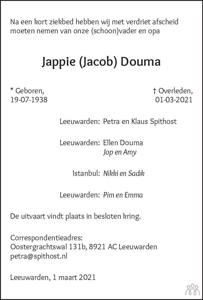 Overlijdensbericht van Jappie (Jacob) Douma in Leeuwarder Courant