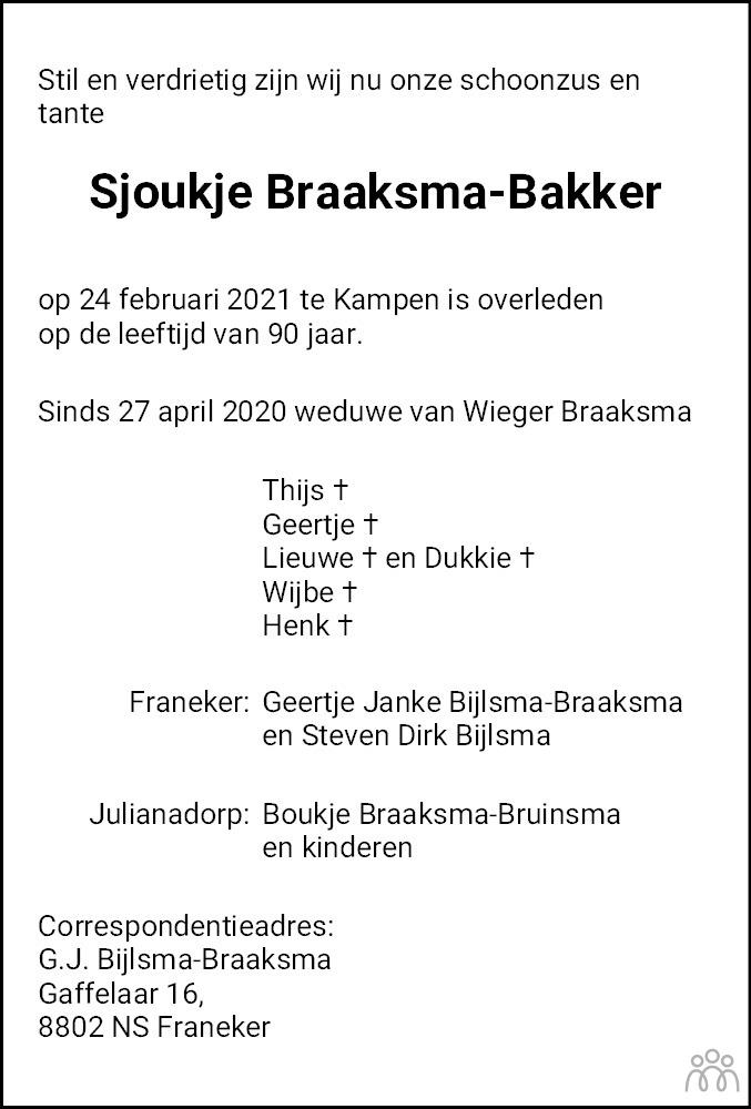 Overlijdensbericht van Sjoukje Braaksma-Bakker in Leeuwarder Courant