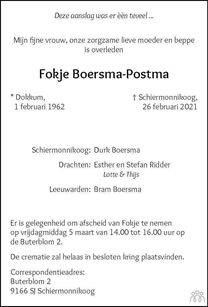 Overlijdensbericht van Fokje Boersma-Postma in Leeuwarder Courant