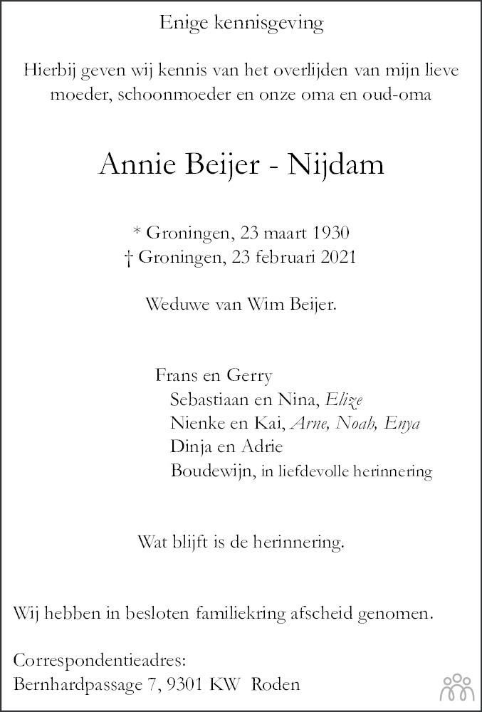 Overlijdensbericht van Annie Beijer-Nijdam in Groninger Gezinsbode