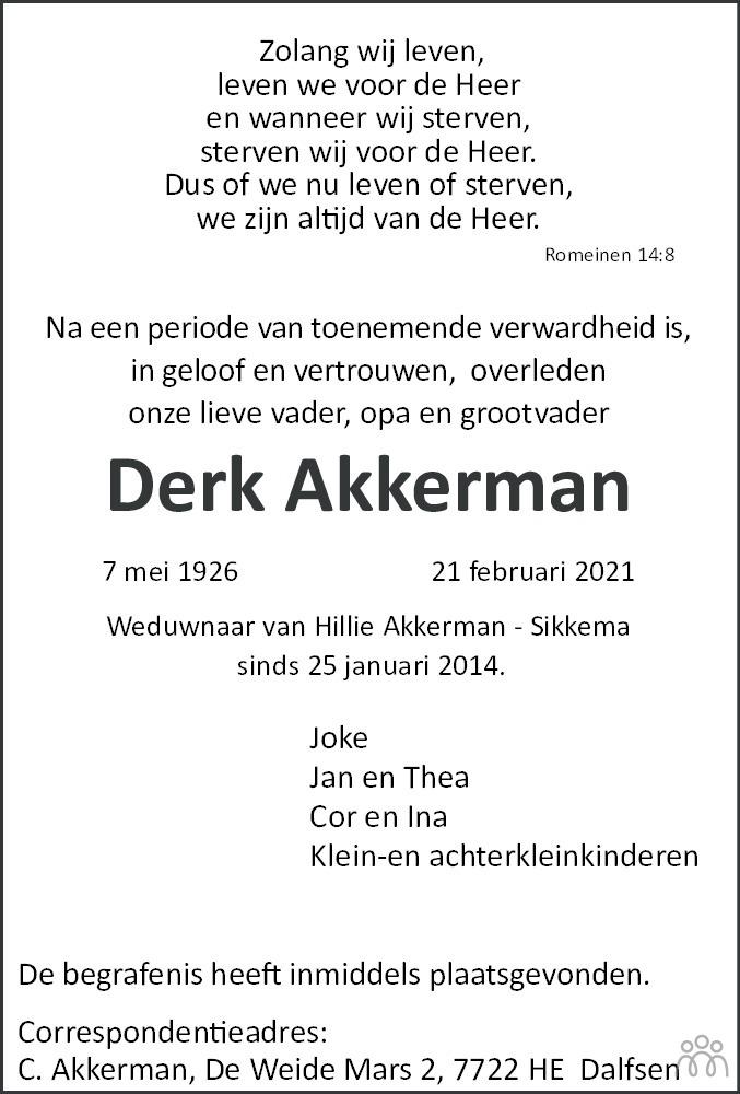 Overlijdensbericht van Derk Akkerman in Veendammer