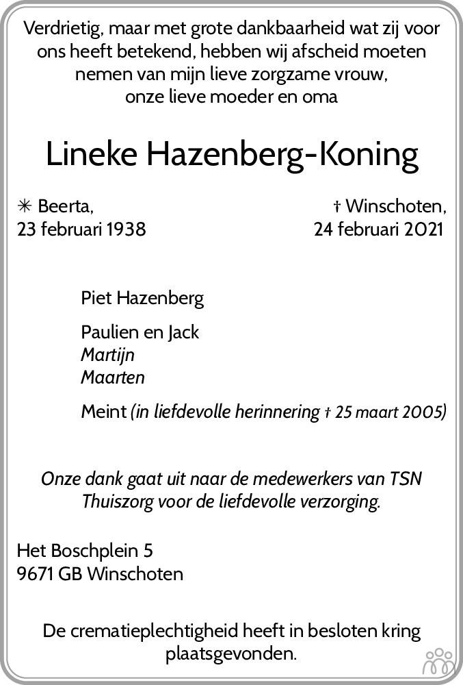 Overlijdensbericht van Lineke Hazenberg-Koning in Streekblad/Pekelder Streekblad