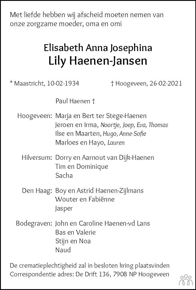 Overlijdensbericht van Elisabeth Anna Josephina (Lily) Haenen-Jansen in Hoogeveensche Courant