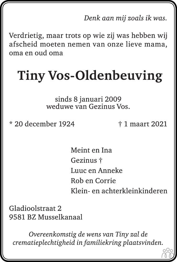 Overlijdensbericht van Tiny Vos-Oldenbeuving in Dagblad van het Noorden