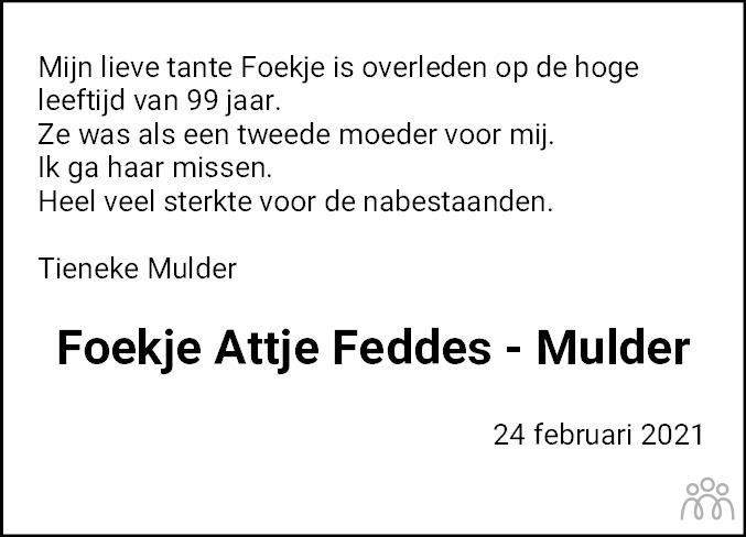 Overlijdensbericht van Foekje Attje Feddes-Mulder in Dokkum Kollum Combinatie