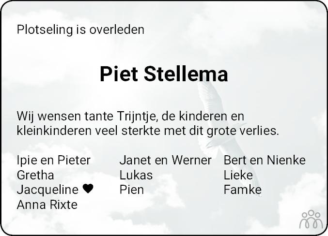Overlijdensbericht van Petrus (Piet) Stellema in Dokkum Kollum Combinatie