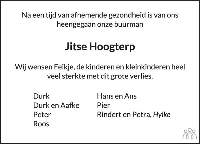 Overlijdensbericht van Jitse Hoogterp in Dokkum Kollum Combinatie