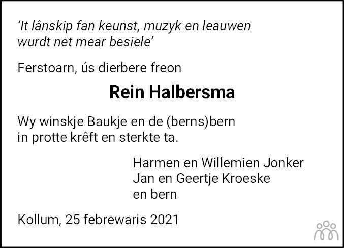 Overlijdensbericht van Rein Halbersma in Dokkum Kollum Combinatie