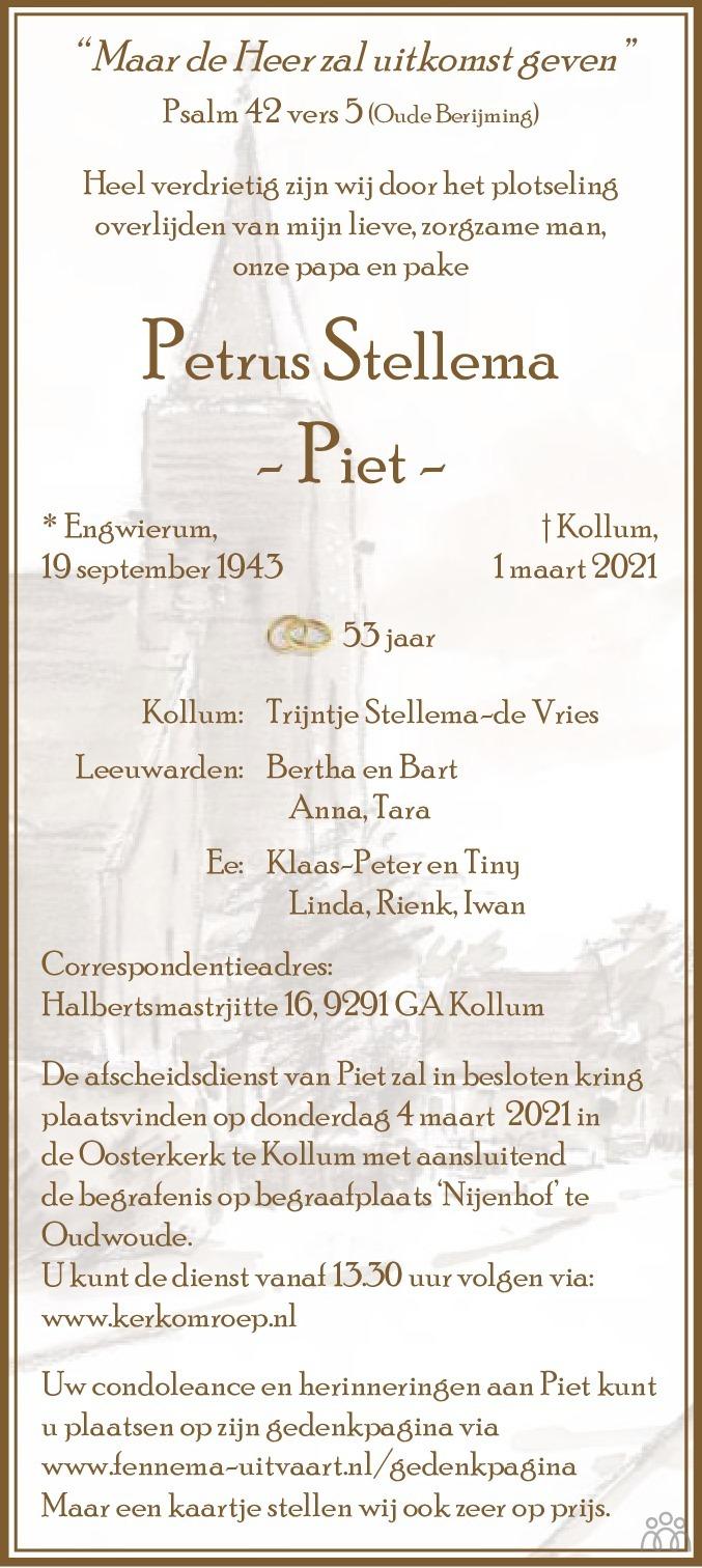 Overlijdensbericht van Petrus (Piet) Stellema in Leeuwarder Courant