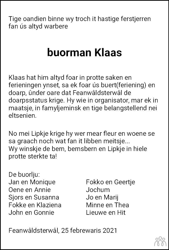 Overlijdensbericht van Klaas Beene Idzerda in Dokkum Kollum Combinatie