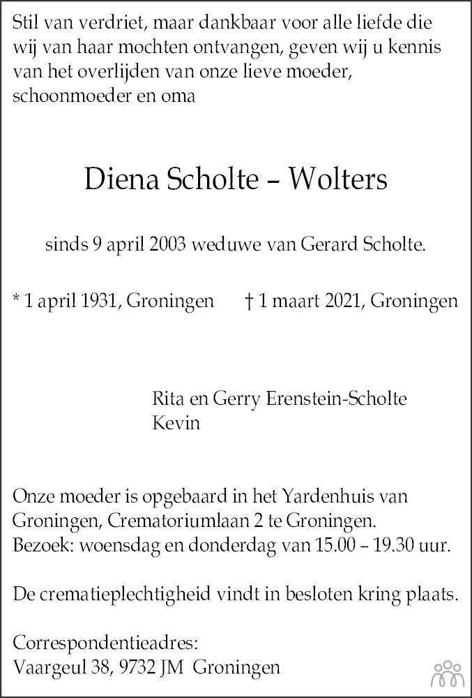 Overlijdensbericht van Diena Scholte-Wolters in Dagblad van het Noorden