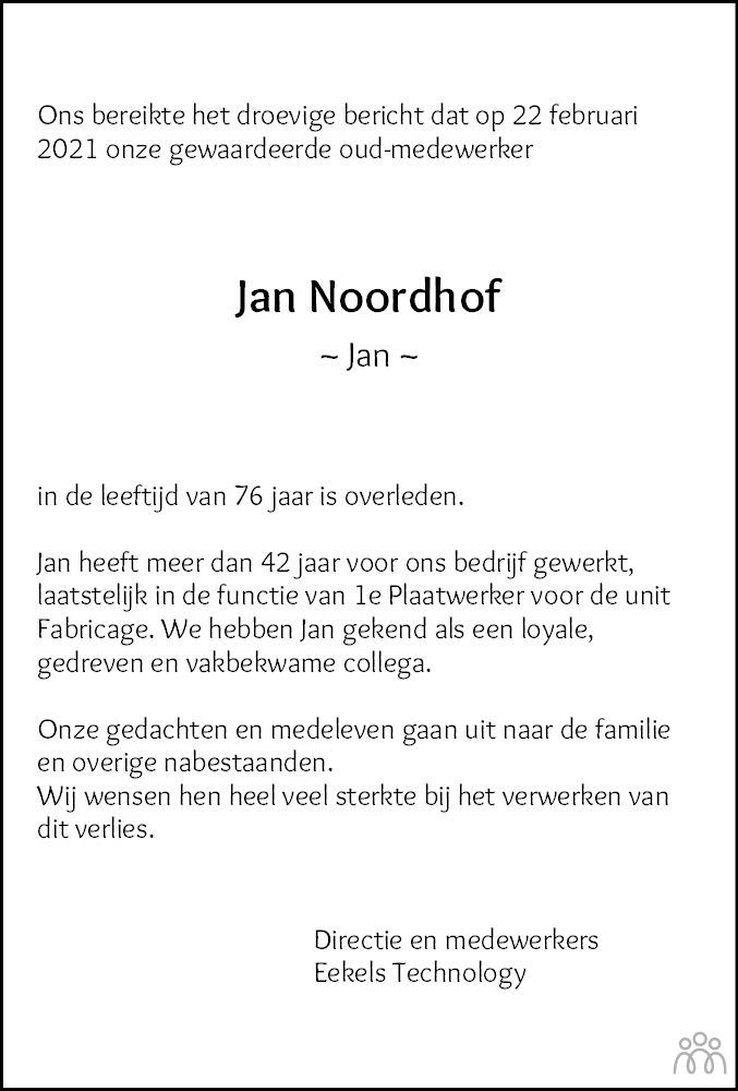 Overlijdensbericht van Jan Noordhof in Dagblad van het Noorden