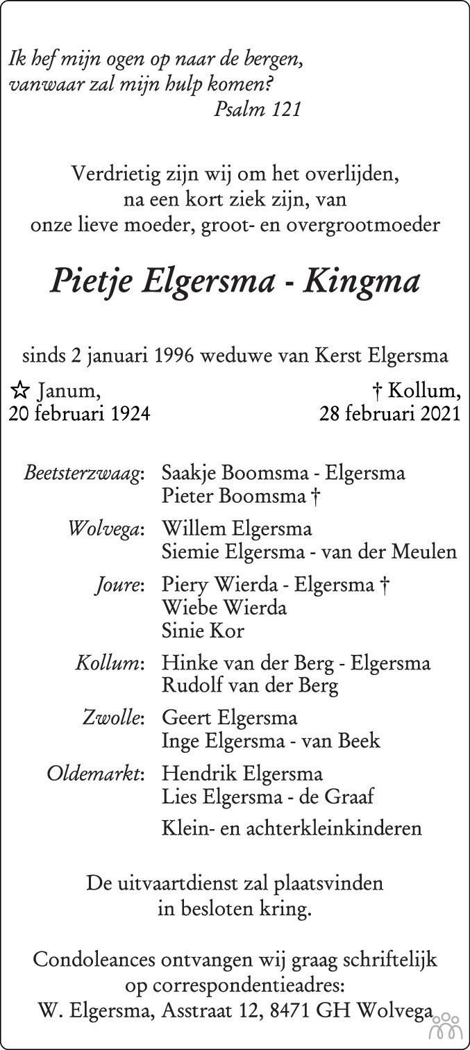 Overlijdensbericht van Pietje Elgersma-Kingma in Leeuwarder Courant