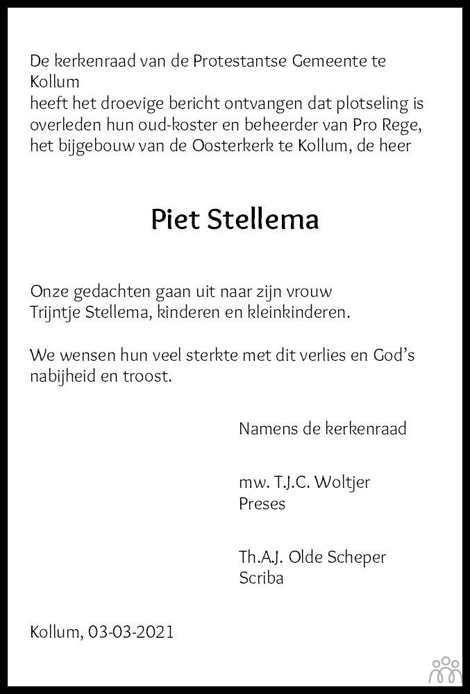 Overlijdensbericht van Petrus (Piet) Stellema in Nieuwsblad Noordoost-Friesland