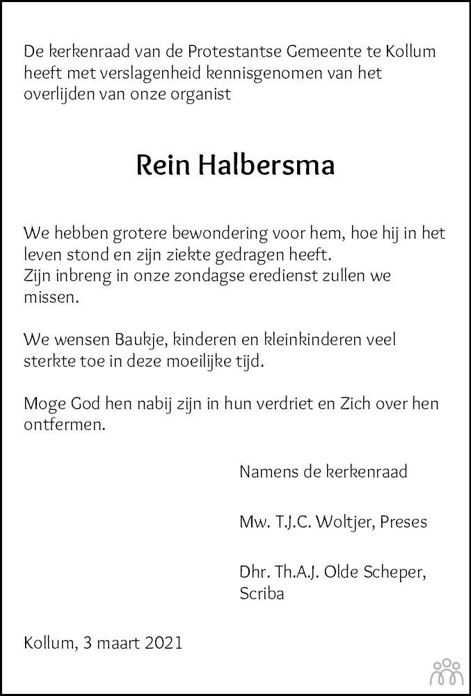 Overlijdensbericht van Rein Halbersma in Nieuwsblad Noordoost-Friesland