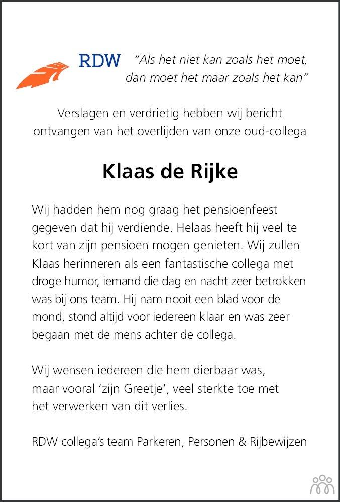Overlijdensbericht van Klaas de Rijke in Dagblad van het Noorden