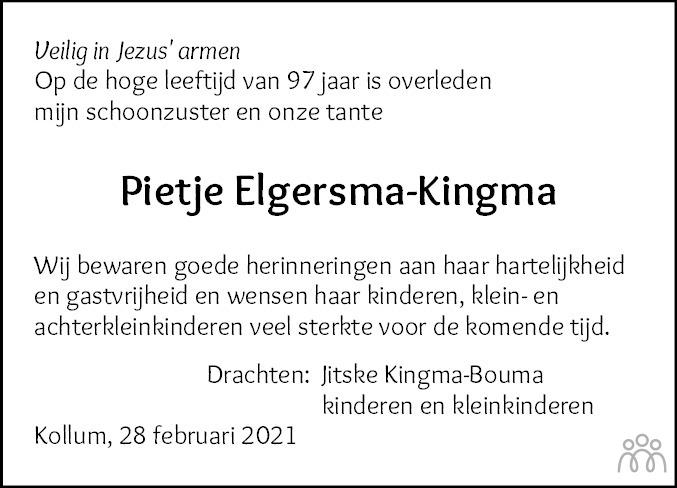 Overlijdensbericht van Pietje Elgersma-Kingma in Friesch Dagblad