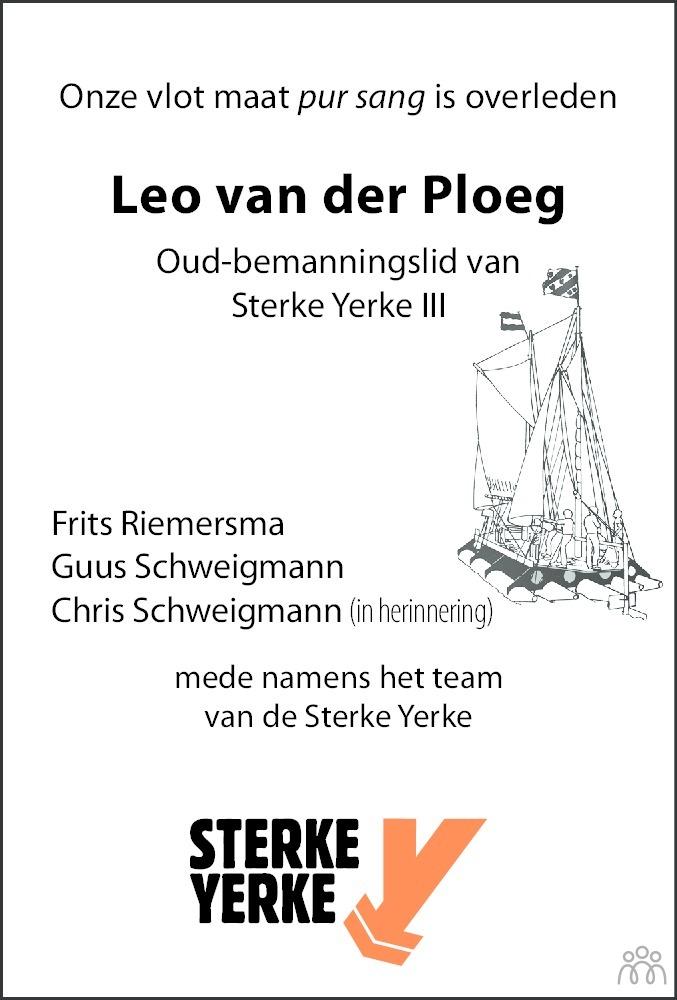 Overlijdensbericht van Johannes (Leo) van der Ploeg in Leeuwarder Courant