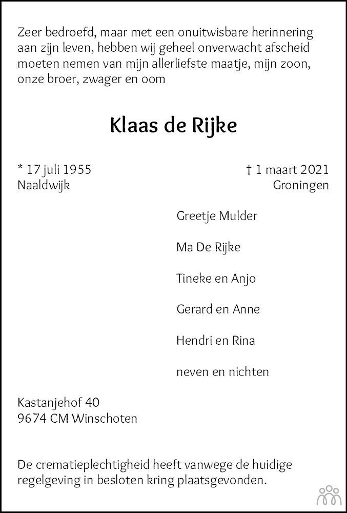 Overlijdensbericht van Klaas de Rijke in Streekblad/Pekelder Streekblad