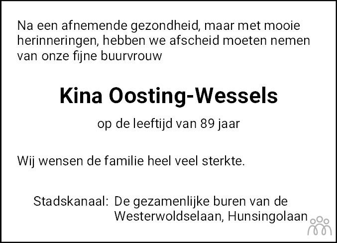 Overlijdensbericht van Meikina Maria (Kina) Oosting-Wessels in Kanaalstreek/Ter Apeler Courant