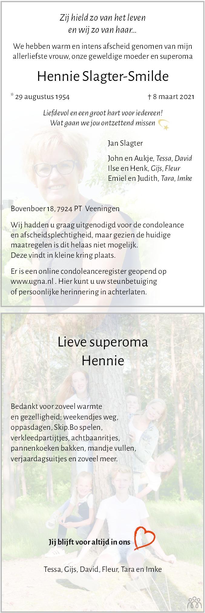 Overlijdensbericht van Hennie Slagter-Smilde in Meppeler Courant