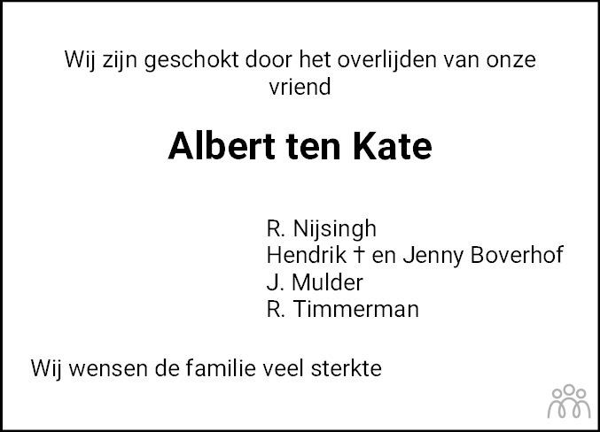 Overlijdensbericht van Albert ten Kate in Meppeler Courant