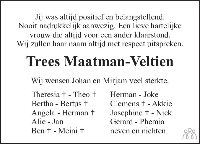 Overlijdensbericht van Trees (Theresia Johanna) Maatman-Veltien in De Stellingwerf