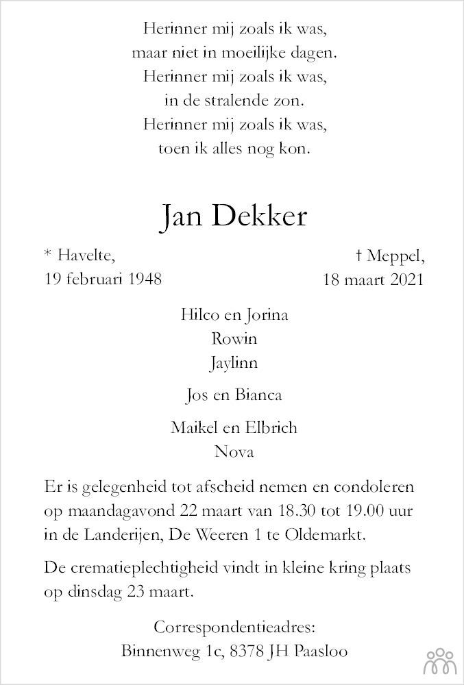 Overlijdensbericht van Jan Dekker in Meppeler Courant